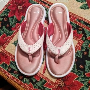 Nike white pink sandals